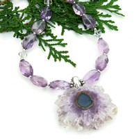 Amethyst Stalactite Druzy Necklace, Lavender Amethyst Gemstone Handmade Beaded Jewelry