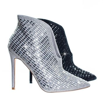 Dolly11 by Blossom Rhinestone Front V-Cut Split Vamp w Extended Topline Ankle Bootie