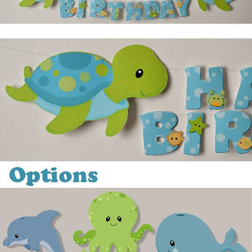 Boy Sea Turtle Party Banner, Baby Shower Party Decoration - Turtle Whale Octopus OR Dolphin - CUSTOM Name/Age