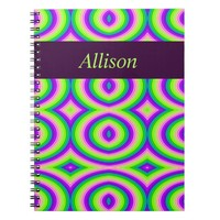 Bright Green Purple Abstract Spiral Notebook