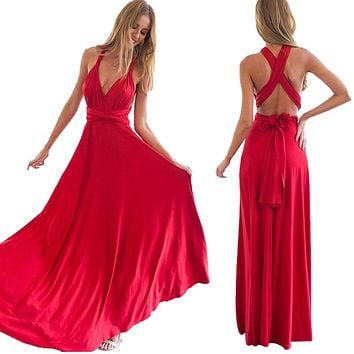 Women Long Summer Dress 2017 Europe Style Boho Bohemian Dresses Robe Femme Casual Bandage Evening Prom Dinner Party Dress