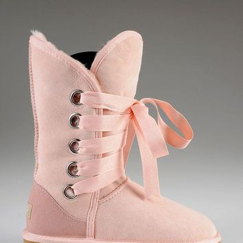 ESBON UGG 5818 Tall Lace-Up Women Fashion Casual Wool Winter Snow Boots Pink