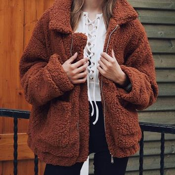 Brown Lapel Long Sleeve Faux Shearling Coat
