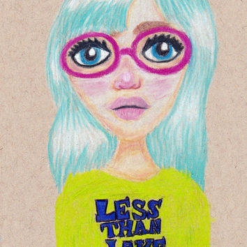 Suzie * Blue Haired Less Than Jake Fan Pink Glasses Kawaii Cute Colored Pencil Girl Portrait
