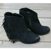 Infringing On My Rights Black Fringe Booties