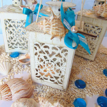 Set of 10 Sea Shells Lanterns,Lace lantern,Mini lantern,Wedding Centerpiece,Candle Lantern,Beach Wedding Decor,Wedding Lighting,candleholder