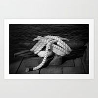 Mooring Rope tied to the dock Art Print by Claude Gariepy