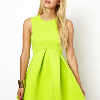 Sleeveless High Waist A-Line Mini Skater Dress