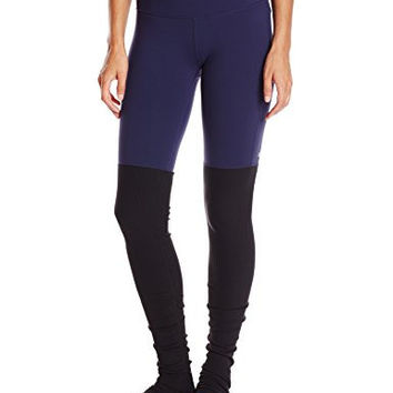 Alo Yoga Women's Goddess Ribbed Legging, Rich Navy/Black, Small