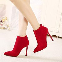 High Heeled Pointed Toe Suede Ankle Boots 2 Colors