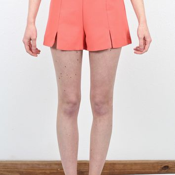 Sassy Slit Front High Waisted Shorts {Salmon}