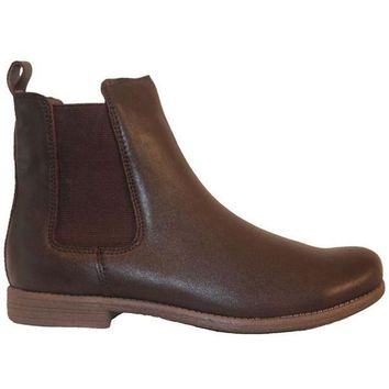 VONES2C Chelsea Crew Jonas - Brown Leather Dual Gore Pull-On Flat Bootie