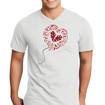 Broken Heart Popped Red Heart Balloon Adult V-Neck T-shirt