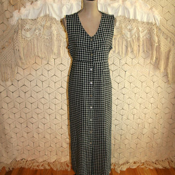 90s Sleeveless Maxi Dress Button Up Jumper Dress Long Summer Dress Black Plaid V Neck Raw Silk Size 14 Dress Large XL Vintage Women Clothing