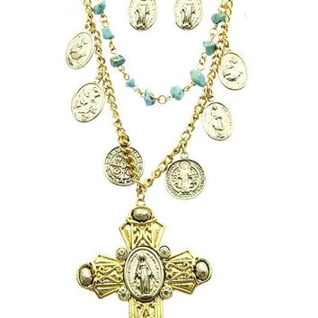 Turquoise Cross Religious Necklace And Earring Set