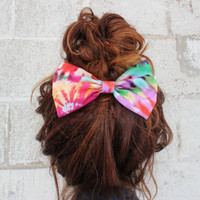 Tye Dye Fabric 5 inch Hair Bow Clip