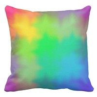 Rainbow Multicolored Watercolor Abstract Teen Girl Throw Pillow
