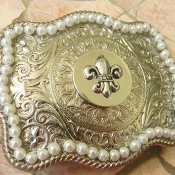 Pearl Fleur De Lis Rhinestone Belt Buckle, Silver Western Womens Belt Buckle, Mardi Gras Silver Belt, New Orleans Saints Football Fan Belt