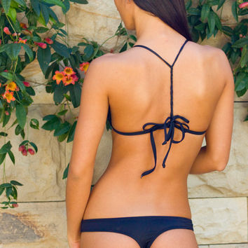 Black Cheeky Thong Bikini Bottom