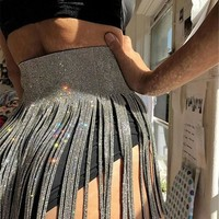 Silver Tassel Rhinestone Lace-up Glitter Sparkly Birthday Mini Skirt