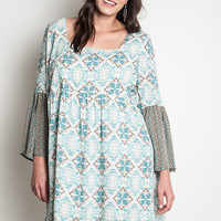 Printed Mini Bell A-Line Dress - Green Mix - Curvy