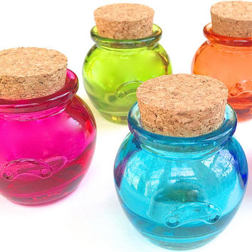4 Colored Honey Pot Jars- 1.2 Ounce, 36 ML Mini Bottle with Cork for Honey, Sugar, Potions, Spices, DIY Favors, Candy, Jams, Jelly