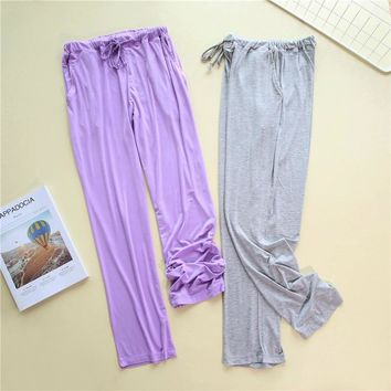 Summer Casual Loose Cotton Modal Pajama Bottoms Women and Men Sleep Bottoms Ladies Home Pants Lovers Trousers Morning exercise