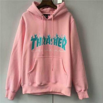 DCCKJH2 Men/Women sportswear Thrasher hoodie flame skateboard dead fly west hip-hop harajuku hooded fleece Thrasher THRASHER sweatshirt Pink