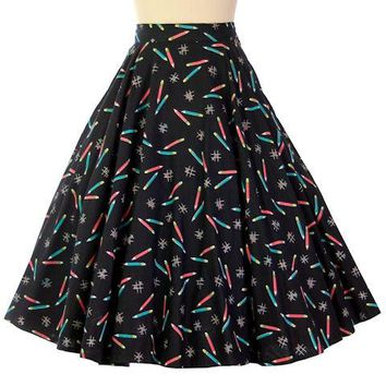 "Vintage Cotton Printed Circle Skirt ""Crayons"" Tic Tac Toe on Black 1950s 28"" Waist"