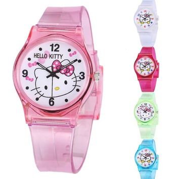Mouse Sports Kids Watches Hello Kitty Children Cartoon Wristwatch Silicone 50M Waterproof Fashion Quartz Watch Christmas Gift