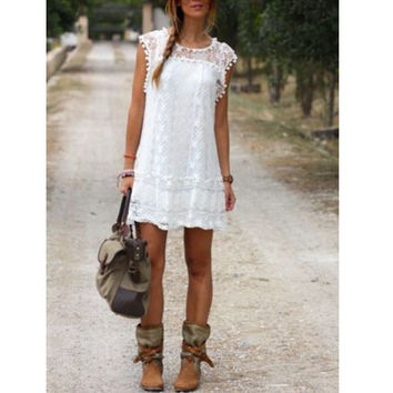 Women Casual Solid Short Sleeve Slim Lace Mini Dress Tops Sexy Ladies White Dress