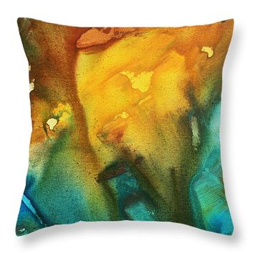 """Abstract Art Colorful Turquoise Rust RIVER OF RUST III by MADART Throw Pillow 14"""" x 14"""""""