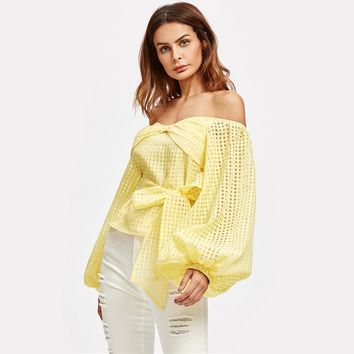 Bow Off the Shoulder Lantern Sleeve Belted Checkered Mesh Top
