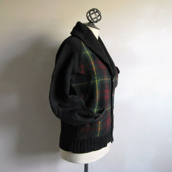 Vintage 1980s Wool Cardigan Ralph Lauren Polo 80s Plaid Wool and Knit Shawl Collar Jumper Sweater Small