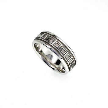 Ready to ship size 7.75, wide 925 Sterling silver wedding band, men's wedding ring, modern, engraving, contemporary wedding, man silver