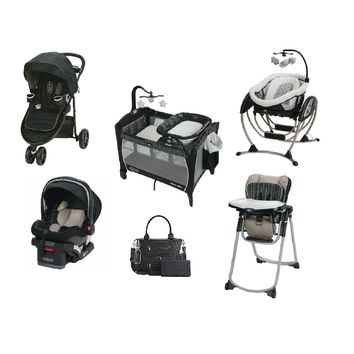 Graco Black Complete Baby Gear Bundle,Stroller Travel System,Play Yard,Swing & Diaper Bag