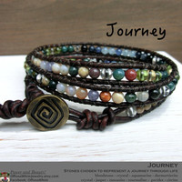 Journey Handmade Leather Wrap Japanese Powerstone Layer Bracelet by Off on a Whim - made in Japan - jasper peridot aquamarine tanzanite etc.