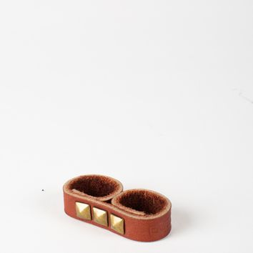 Doppelganger Two-Finger Leather Stud Ring - Brown
