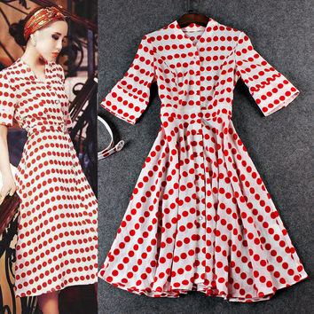 Red Polka Dots V-Neck Cardigan  A-Line Swing Dress
