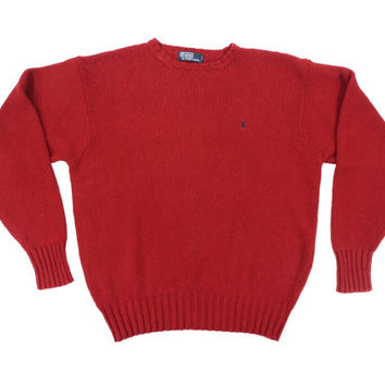 SALE Vintage Red Pullover Sweater - Ralph Lauren Polo Crewneck Knit Ivy League Menswear - Men's Size Large Lrg L
