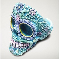 Sugar Skull Head Ashtray - Resin Blue - Spencer's