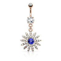 Paved Gem Flower with Blue CZ Center Dangle Belly Button Ring 316L 14g Navel Ring (Rose gold tone w/Blue Cz)