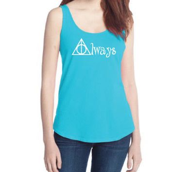 Harry Potter Inpsired Clothing - Hallows Always Flowy Swing Tank - Ladies