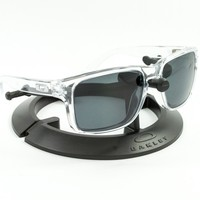 OAKLEY HOLBROOK POLISHED CLEAR FRAME / REVANT STEALTH BLACK POLARIZED CUSTOM