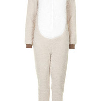 Pug Fleece Onesuit - Nude