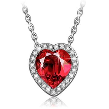 "LadyColour Sterling silver ""Venus"" Bermuda Red Heart Pendant Necklace Made with Swarovski Crystals"