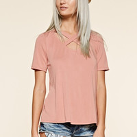 Casual Criss Cross Top - Mauve