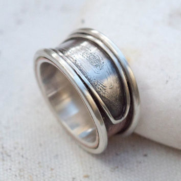 Mens ring, Mens silver ring, Wide band ring, Rustic ring, Gift for him,Unique ring,Handmade mens silver and copper ring,Wedding band ring