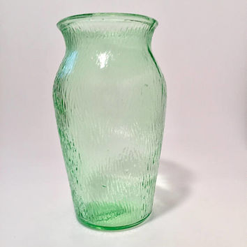Green Glass Vase, Jeannette Tree Bark Green Glass, Vintage Vase, Depression Glass