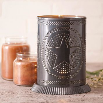 """Primitive Large Electric Candle Warmer Punch Tin Star in Country Tin for 4"""" Jar"""